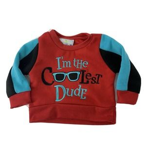 Retro Baby Sweatshirt Red Coolest Dude 0-3 Month